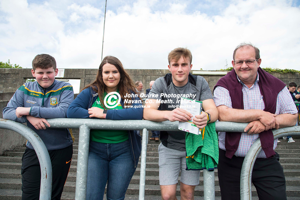 12/05/2019, Leinster Senior Football Championship 1st Round at Pairc Tailteann<br /> Meath vs Offaly<br /> Meath Supporters, L-R, Conor, Rachel, Shane & Tony Walsh<br /> Photo: David Mullen / www.quirke.ie ©John Quirke Photography, Unit 17, Blackcastle Shopping Cte. Navan. Co. Meath. 046-9079044 / 087-2579454.<br /> ISO: 250; Shutter: 1/250; Aperture: 8; <br /> File Size: 2.4MB