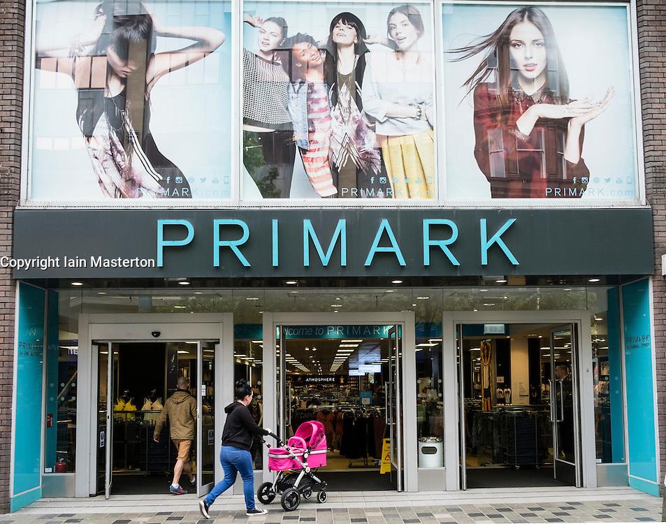 Entrance to Primark budget clothing store on Sauchiehall Street Glasgow, Scotland, united Kingdom