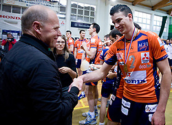 Herman Rigelnik and Alen Pajenk of ACH at last final volleyball match of 1.DOL Radenska Classic between OK ACH Volley and Salonit Anhovo, on April 21, 2009, in Arena SGS Radovljica, Slovenia. ACH Volley won the match 3:0 and became Slovenian Champion. (Photo by Vid Ponikvar / Sportida)
