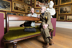 "The National Galleries of Scotland (NGS) and the Royal Scottish Academy (RSA) have collaborated to organise a major new exhibition, which opens in Edinburgh on 4 November 2017 and runs to 7 January 2018. ""Ages of Wonder: Scotland's Art 1540 to Now"" will be the largest exhibition of the RSA's hugely significant collection ever mounted and the first to occupy the entire RSA building.<br /> <br /> The artworks on show will cover a period of nearly five centuries, from 1540 until the present day, from the The Adoration of the Kings by Jacopo Bassano (c.1510–1592) right through to Callum Innes's Exposed Painting Lamp Black, submitted as the artist's Diploma Work in 2015 after his election as an Academician, and a number of new commissions. Among the exhibition's highlights will be a spectacular recreation of a Victorian gallery hang, which in RSA Gallery 3 will see over 90 works hung as they would have in the 19th Century, from dado rail to ceiling. <br /> <br /> Pictured: John Byrne and Alison Watt in RSA Gallery 3"
