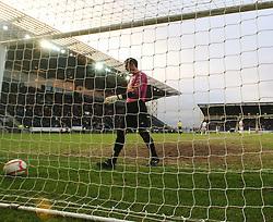Dunfermline's Paul Gallacher picks the ball from the net..Falkirk 1 v 0 Dunfermline, 16/2/2013..©Michael Schofield.