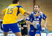 Håndballl<br /> 9. Oktober 2010<br /> EHF Cup<br /> Framohallen<br /> Fyllingen - Alingsås 23 - 26<br /> Eivind Tangen (L) , Fyllingen<br /> Pontus Johansson (R) , Alingsås<br /> Foto : Astrid M. Nordhaug