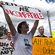 Protestors gather in the staging site prior to a Richard Spencer speech at the Phillips Center for the Performing Arts on the University of Florida campus in Gainesville, Florida on Thursday, October 18, 2017. (Alex Menendez)