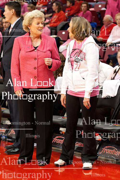 12 February 2012:  Stephanie Glance and Mrs. Dr. Al Bowman during an NCAA women's basketball game Where the Bradley Braves lost to the Illinois Sate Redbirds 82-63.  It was Play 4Kay day in honor of the cancer research fund set up by Coach Kay Yow at Redbird Arena in Normal IL