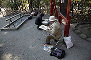 recreational artists painting local scenery Japan Kamakura