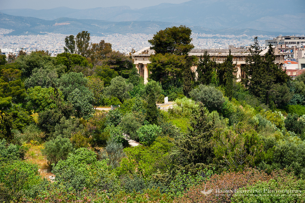 Athens, Greece. View from Areopagus below the Acropolis. The Temple of Hephaestus.