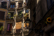 Balconies in the old town of Barcelona, Spain 2017