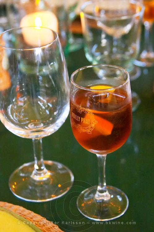 Restaurant Chez Philippe. The aperitif. Marseillan. Languedoc. France. Europe. Wine glass.