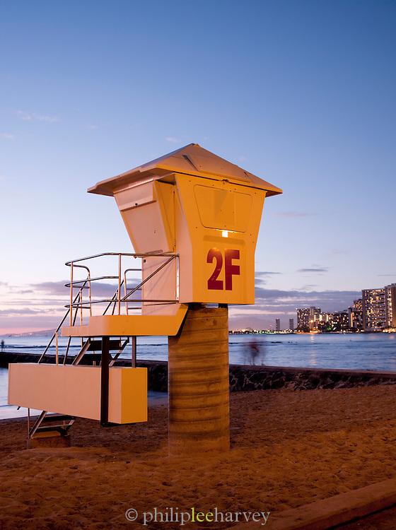 Lifeguard station on Waikiki Beach at Honolulu, O'Ahu, Hawai?i
