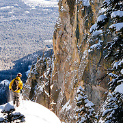 Tanner Flanagan gets ready to drop into a steep backcountry line near Jackson Hole Mountain Resort.