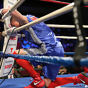 """Anthony Mercado prays in his corner prior to his fight against Javier Perez during a """"Boxeo Telemundo""""  boxing match at the Kissimmee Civic Center on Friday, July 18, 2014 in Kissimmee, Florida. (AP Photo/Alex Menendez)"""