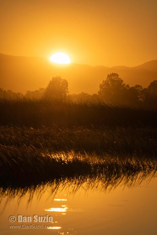 Sunset over Sacramento National Wildlife Refuge, California