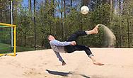 Football legend Marco Van Basten playing beach soccer