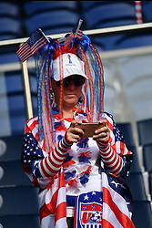 June 28, 2019 - Paris, ile de france, France - American fan before the quarter-final between FRANCE vs USA in the 2019 women's football World cup at Parc des Princes in Paris, on the 28 June 2019. (Credit Image: © Julien Mattia/NurPhoto via ZUMA Press)