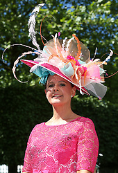 Rachel Walsworth poses for photographs on day three of Royal Ascot at Ascot Racecourse.