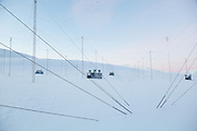 Radar antennas at the European Incoherent Scatter Scientific Association (EISCAT) facility on Breinosa, Svalbard.