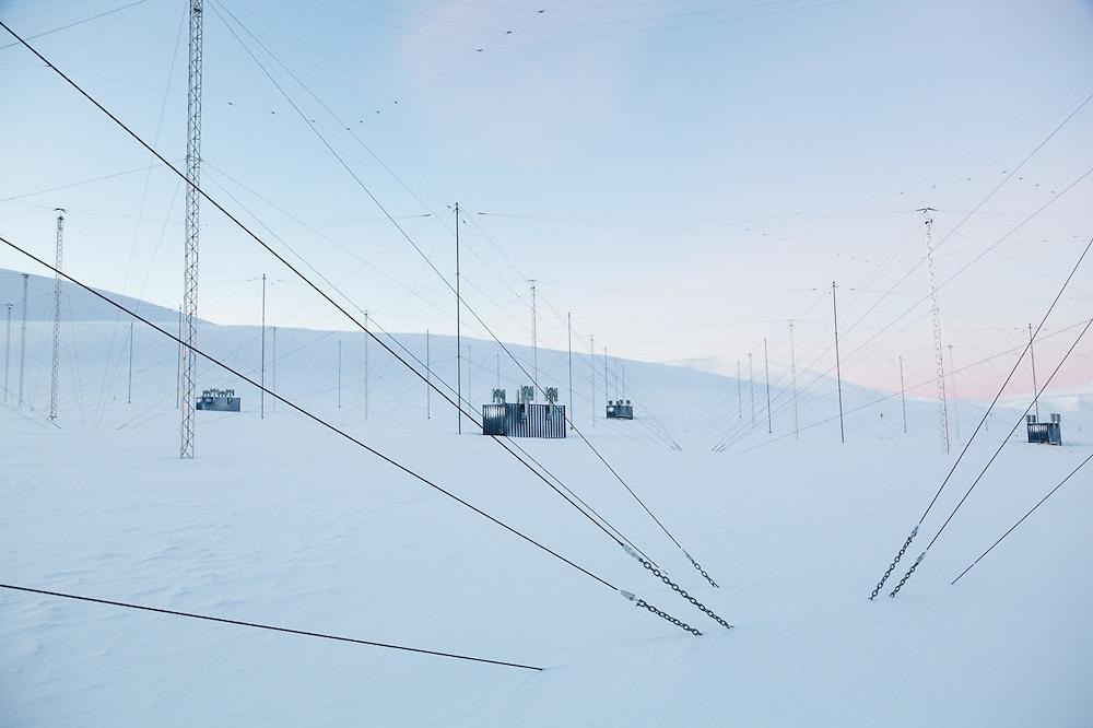 Radar antennas at the European Incoherent Scatter Scientific Association (EISCAT) facility on Breinosa, Svalbard.