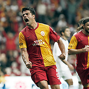 Galatasaray's Gokhan ZAN celebrate his goal during their Turkish Super League soccer match Galatasaray between Eskisehirspor at the TT Arena at Seyrantepe in Istanbul Turkey on Monday, 26 September 2011. Photo by TURKPIX