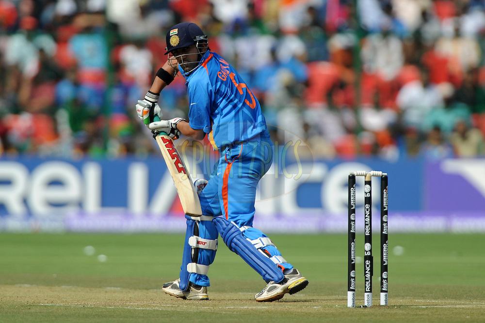Gautam Gambhir of India bats during the ICC Cricket World Cup match between India and England held at the M Chinnaswamy Stadium in Bengaluru, Bangalore, Karnataka, India on the 27th February 2011..Photo by Pal Pillai/BCCI/SPORTZPICS