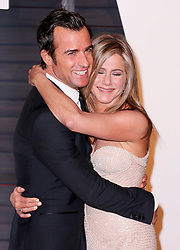"""File photo - Justin Theroux and Jennifer Aniston attend the 2015 Vanity Fair Oscar Party hosted by Graydon Carter at Wallis Annenberg Center for the Performing Arts on February 22, 2015 in Beverly Hills, Los Angeles, CA, USA. Hollywood couple Jennifer Aniston and Justin Theroux are separating after two years of marriage. The pair, who reportedly met on the set of comedy film Wanderlust, said the mutual decision was """"lovingly made"""" at the end of last year. Photo by Chris Elise/ABACAPRESS.COM"""