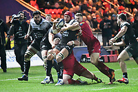 Rugby Union - 2017 / 2018 European Rugby Champions Cup: Scarlets vs. RC Toulonnaise<br /> <br /> Juandre Kruger, of Toulon tackled by Tom Prydie of Llanelli Scarlets , at Parc y Scarlets, Llanelli.<br /> <br /> COLORSPORT/WINSTON BYNORTH