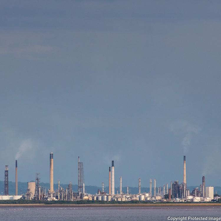 Stanlow Oil Refinery  from Bebington, Merseyside.