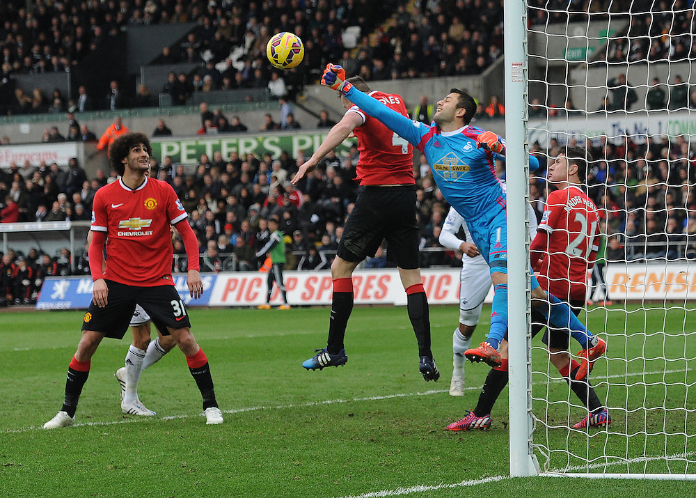 Swansea City's Lukasz Fabianski in action during todays match  <br /> <br /> Photographer Ashley Crowden/CameraSport<br /> <br /> Football - Barclays Premiership - Swansea City v Manchester United - Saturday 21st February 2015 - Liberty Stadium - Swansea<br /> <br /> © CameraSport - 43 Linden Ave. Countesthorpe. Leicester. England. LE8 5PG - Tel: +44 (0) 116 277 4147 - admin@camerasport.com - www.camerasport.com