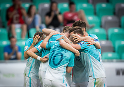 Players of Slovenia celebrate after Milivoje Novakovic of Slovenia scored second goal during football match between National teams of Slovenia and Malta in Round #6 of FIFA World Cup Russia 2018 qualifications in Group F, on June 10, 2017 in SRC Stozice, Ljubljana, Slovenia. Photo by Vid Ponikvar / Sportida