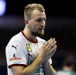 Julius Kuehn of Germany reacts during handball match between National Teams of Algeria and Germany at Day 3 of IHF Men's Tokyo Olympic  Qualification tournament, on March 14, 2021 in Max-Schmeling-Halle, Berlin, Germany. Photo by Vid Ponikvar / Sportida