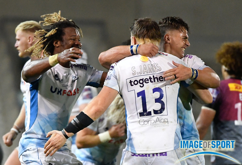 Sale Sharks wing Marland Yarde celebrate with centre Rohan Janse van Rensburg  and centre Sam James after winning 27-19 The Premiership Rugby Cup Final at The AJ Bell Stadium, Eccles, Greater Manchester, United Kingdom, Monday, September 21, 2020. (Steve Flynn/Image of Sport)