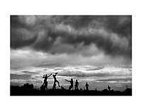 MELBOURNE, AUSTRALIA:<br /> A general view is seen as storm clouds form during the Western Bulldogs AFL intra-club match at Whitten Oval on February 13, 2016 in Melbourne, Australia.  (Photo by Michael Dodge/Getty Images)