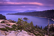 Storm clouds over Emerald Bay, Lake Tahoe, California