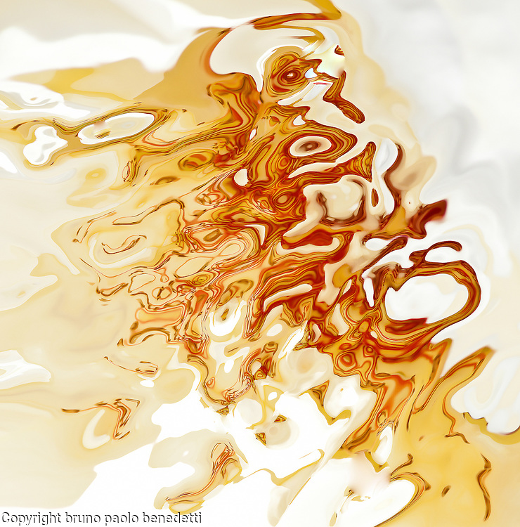 abstract fluid orange shades on bright white background in acquerello texture