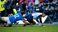 Rugby Union - 2019 Guinness Six Nations Championship - Scotland vs. Italy<br /> <br /> Blair Kinghorn of Scotland scores his second try at Murrayfield.<br /> <br /> COLORSPORT/LYNNE CAMERON