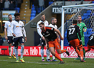 Jack O'Connell of Sheffield Utd runs back after scoring the second goal during the FA Cup Second round match at the Macron Stadium, Bolton. Picture date: December 4th, 2016. Pic Simon Bellis/Sportimage