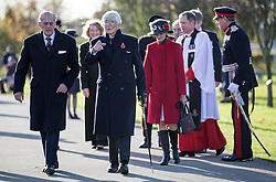 """The Duke of Edinburgh walks with Dr """"Sandy"""" Saunders a Surviving """"Guinea pig club"""" member before he unveiled a memorial to them at the National Memorial Arboretum, Staffordshire."""