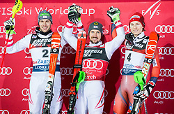 "Second placed Michael Matt (AUT), winner Marcel Hirscher (AUT) and third placed Henrik Kristoffersen (NOR) celebrate at Trophy ceremony after the 2nd Run of FIS Alpine Ski World Cup 2017/18 Men's Slalom race named ""Snow Queen Trophy 2018"", on January 4, 2018 in Course Crveni Spust at Sljeme hill, Zagreb, Croatia. Photo by Vid Ponikvar / Sportida"