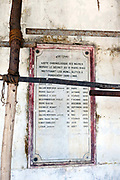 A plaque of former French Mayors in the derelict Hotel du Ville that has been saved by INTACH Indian National Trust for Art and Cultural Heritage. Pondicherry, India. Pondicherry now Puducherry is a Union Territory of India and was a French territory until 1954 legally on 16 August 1962. The French Quarter of the town retains a strong French influence in terms of architecture and culture.