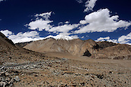 Road in Ladakh at the altitude about 4000 meters above sea level.