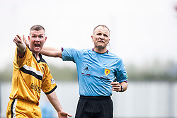 Dumbarton's Bryan Prunty with Ref George Salmond.<br /> Falkirk 1 v 2 Dumbarton, Scottish Championship game played today at the Falkirk Stadium.<br /> ©Michael Schofield.