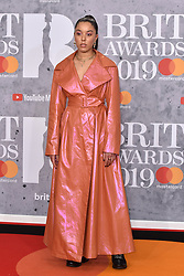 February 20, 2019 - London, United Kingdom of Great Britain and Northern Ireland - Grace Carter arriving at The BRIT Awards 2019 at The O2 Arena on February 20, 2019 in London, England  (Credit Image: © Famous/Ace Pictures via ZUMA Press)