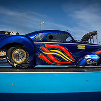 Kelvin Lyle (728) launches his 1937 Chevrolet Coupe Funnycar in Supercharged Outlaw at the Perth Motorplex.