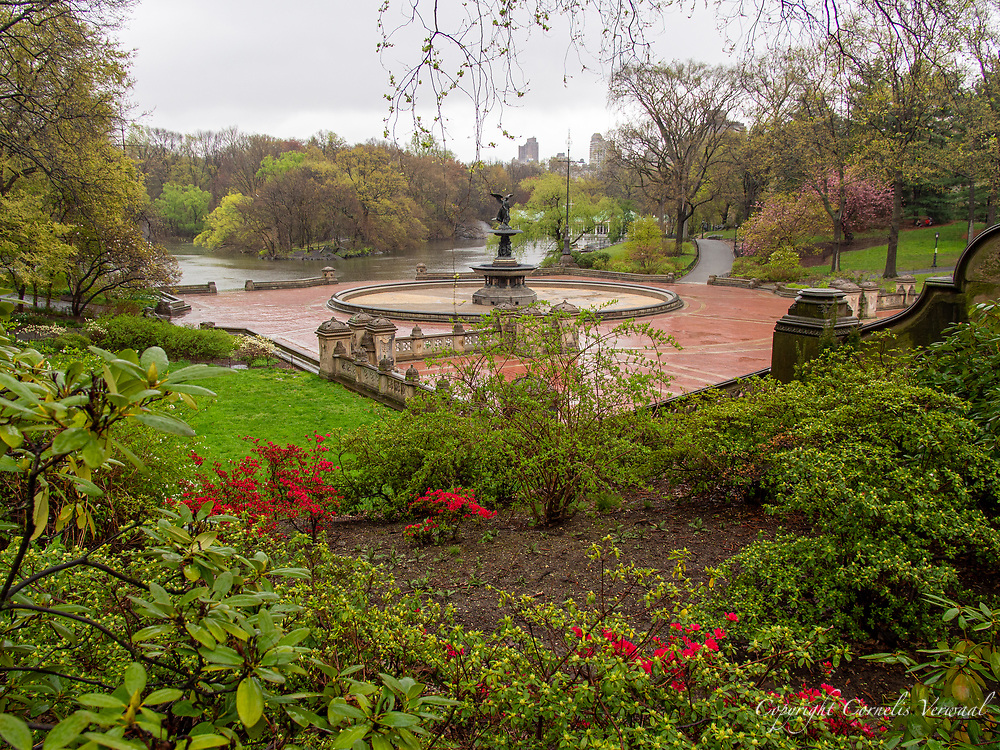 A little rain and a pandemic keeps the people away at Bethesda Terrace in Central Park, April 18, 2020.