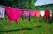 A08BH0 Coloured clothes on country washing line