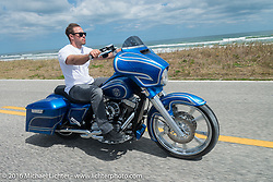 Zach Ness rides south of Flagler Beach on A1A during the Daytona Bike Week 75th Anniversary event. FL, USA. Monday March 7, 2016.  Photography ©2016 Michael Lichter.