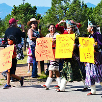 Among the individuals supporting the veterans in their walk Monday Aug. 20, 2018from Chinle to the presidential forum at Dine' College, Tsaile, Arizona, were Miss Central Navajo contestant Stacey Bia, 2017-18 Mi0s Central Navajo Sasha Araba and 2017-18 Miss Central Navajo Teen Tiona Bia.