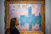 "Claude Monet (1840-1926), Le Parlement, soleil couchant, 1902 (est: $35-45 million) - Preview of almost fifty works from Christie's spring sales in New York of Impressionist, Modern, Post-War And Contemporary Art. The most expensive work is Les femmes d'Alger (Version ""O""), 1955, by Pablo Picasso (1881-1973), estimate $140million. Other highlights include: Pablo Picasso (1881-1973), Femme à la résille, 1938 (est $55 million); Mark Rothko (1903 -1970), No. 36 (Black Stripe), 1958 (est: $30-50 million); Andy Warhol (1928-1987), Colored Mona Lisa, 1963 (est $40 million); Claude Monet (1840-1926), Le Parlement, soleil couchant, 1902 (est: $35-45 million); Jean Dubuffet, Paris Polka, 1961 (est $25 million); Piet Mondrian (1872-1944), Composition No.III (Composition with Red, Blue, Yellow and Black), 1929 (est: $15-25million); and Amedeo Modigliani (1884-1920), Portrait de Béatrice Hastings, 1916 (est $7-10million) from the Collection of John C. Whitehead. The works will be on view to the public from 11 to 16 April at Christie's King Street, London."