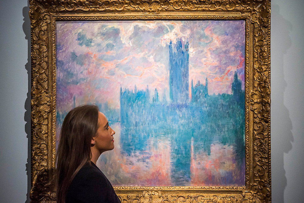 """Claude Monet (1840-1926), Le Parlement, soleil couchant, 1902 (est: $35-45 million) - Preview of almost fifty works from Christie's spring sales in New York of Impressionist, Modern, Post-War And Contemporary Art. The most expensive work is Les femmes d'Alger (Version """"O""""), 1955, by Pablo Picasso (1881-1973), estimate $140million. Other highlights include: Pablo Picasso (1881-1973), Femme à la résille, 1938 (est $55 million); Mark Rothko (1903 -1970), No. 36 (Black Stripe), 1958 (est: $30-50 million); Andy Warhol (1928-1987), Colored Mona Lisa, 1963 (est $40 million); Claude Monet (1840-1926), Le Parlement, soleil couchant, 1902 (est: $35-45 million); Jean Dubuffet, Paris Polka, 1961 (est $25 million); Piet Mondrian (1872-1944), Composition No.III (Composition with Red, Blue, Yellow and Black), 1929 (est: $15-25million); and Amedeo Modigliani (1884-1920), Portrait de Béatrice Hastings, 1916 (est $7-10million) from the Collection of John C. Whitehead. The works will be on view to the public from 11 to 16 April at Christie's King Street, London."""