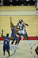 The Washington Wizards defeated the Cleveland Cavaliers 88-87 in Game 5 of the First Round of the NBA Playoffs, April 30, 2008 at Quicken Loans Arena in Cleveland..LeBron James of Cleveland drives to the basket against Washington's Brendan Haywood, Antawn Jamison and Caron Butler.