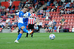 Matty Taylor of Bristol Rovers takes a penalty which is saved by Dillon Phillips of Cheltenham Town - Mandatory by-line: Dougie Allward/JMP - 25/07/2015 - SPORT - FOOTBALL - Cheltenham Town,England - Whaddon Road - Cheltenham Town v Bristol Rovers - Pre-Season Friendly